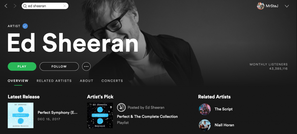 Ed Sheeran on Spotify