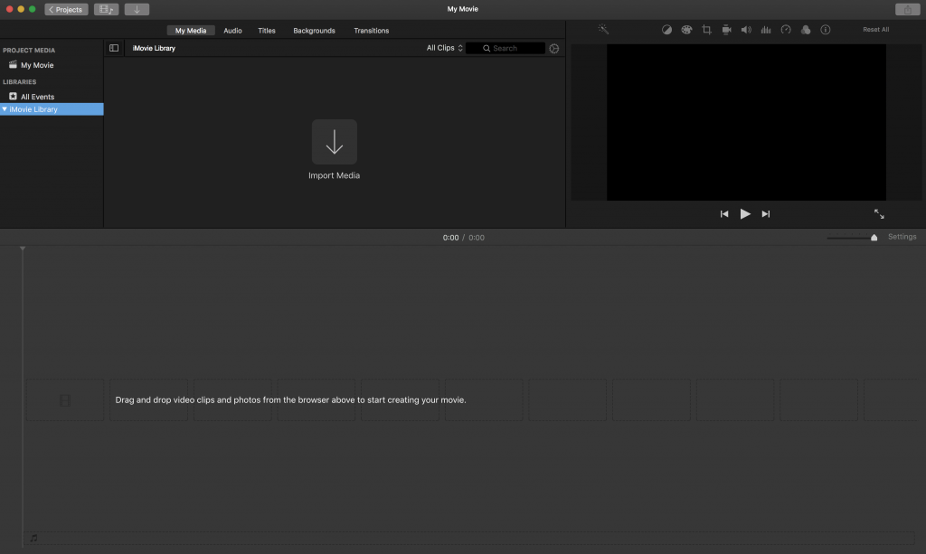 iMovie Layout Screen