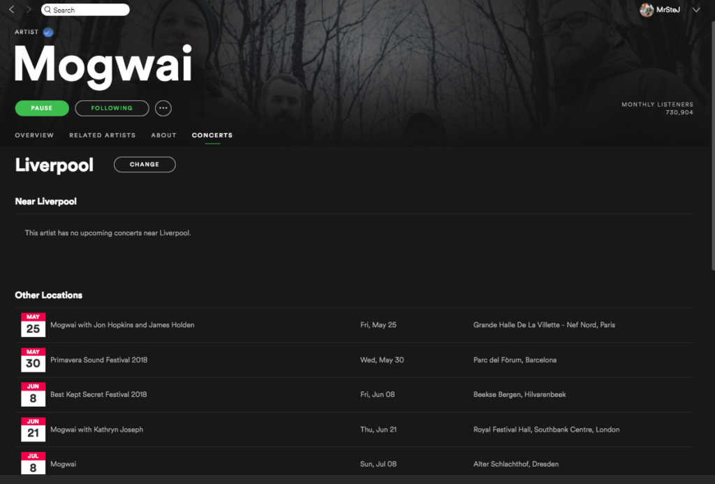Mogwai concerts on Spotify