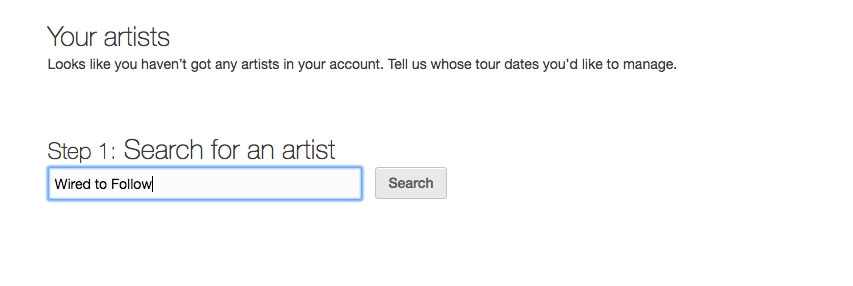 Songkick Artists Search