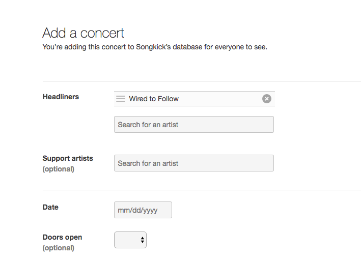 Adding a Concert to your Songkick Artist Account