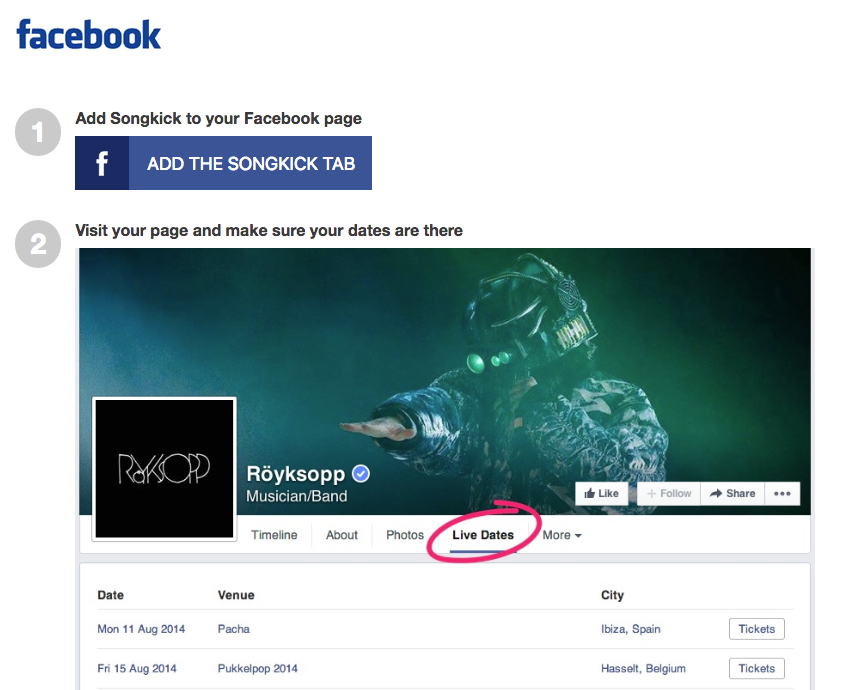 Songkick Facebook Integration