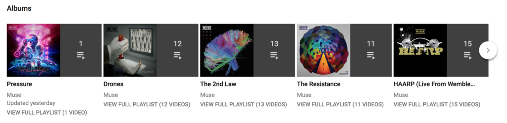 Muse YouTube Playlists
