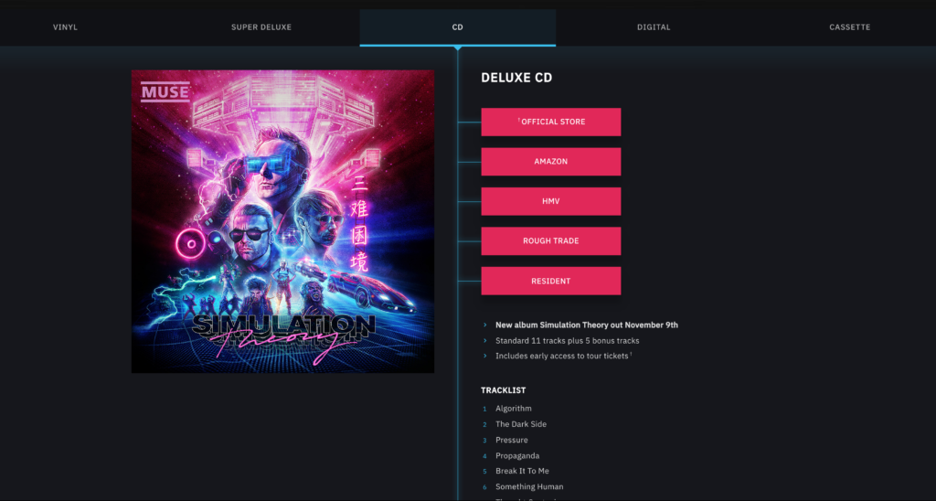 Muse Simulation Theory Album Pre-order Page