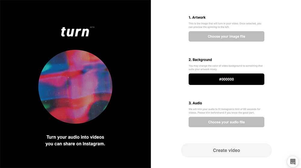 The Turn web based app, allowing us to create shareable images for instagram from our music