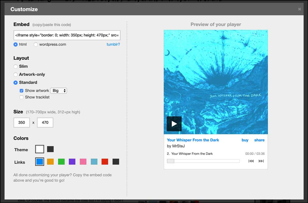 Bandcamp Embed Options
