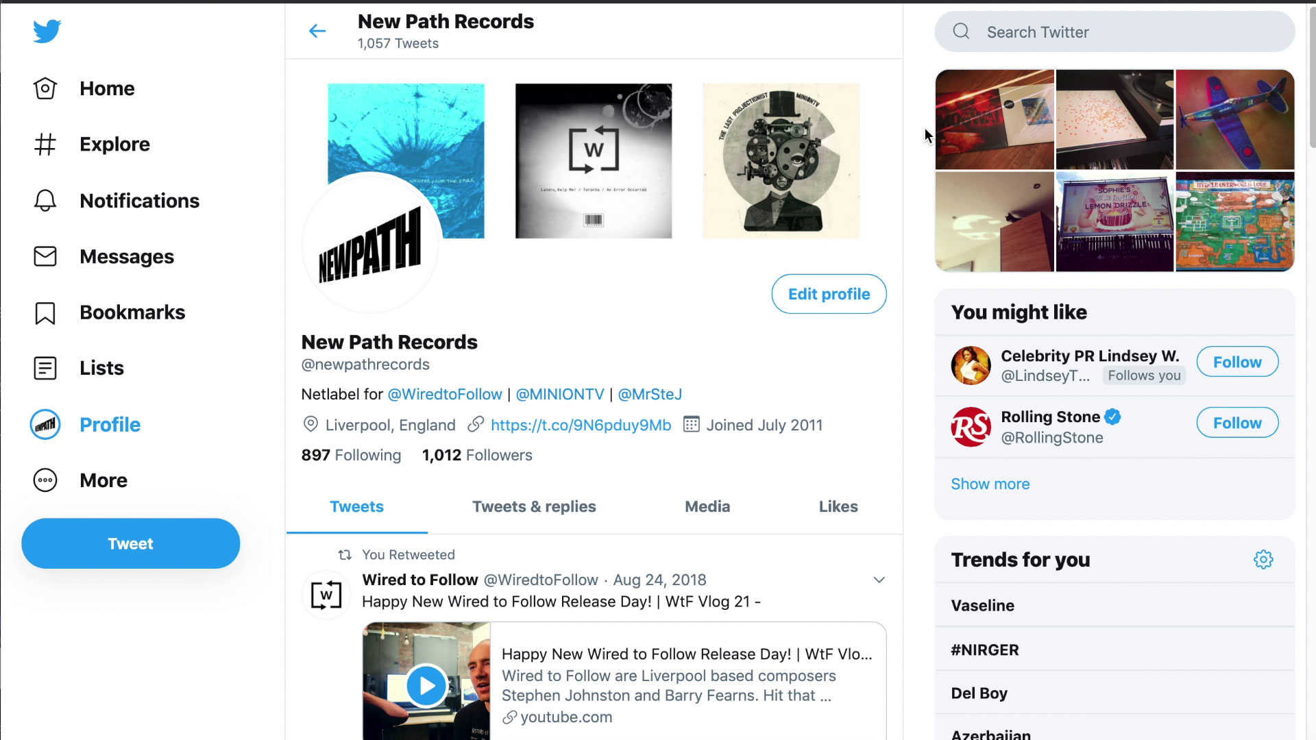 NewPath Twitter Profile with Images