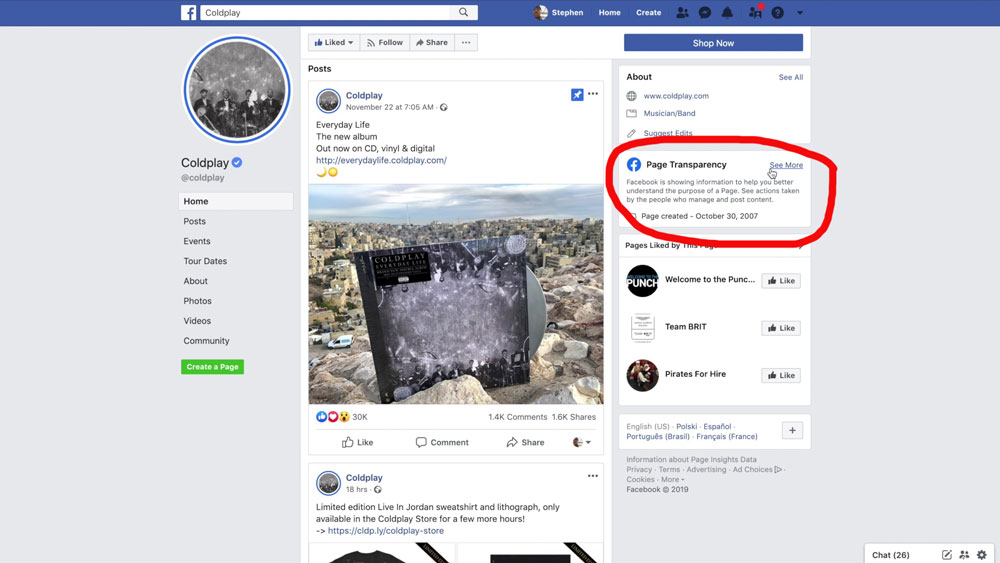 Facebook Page Transparency Option