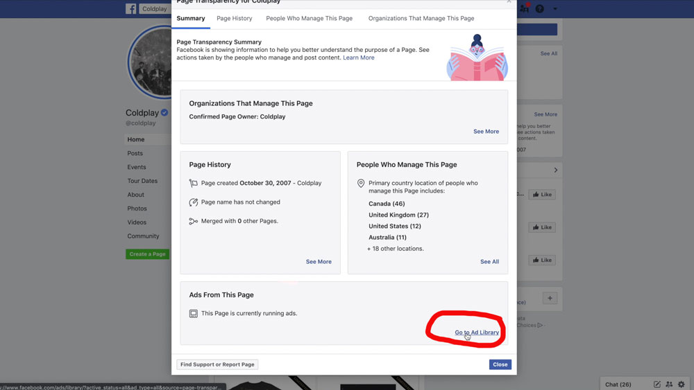 Facebook Page Ad Library Link
