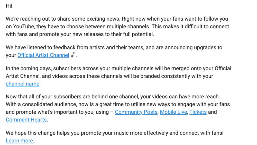 YouTube Email | YouTube Official Artist Channel